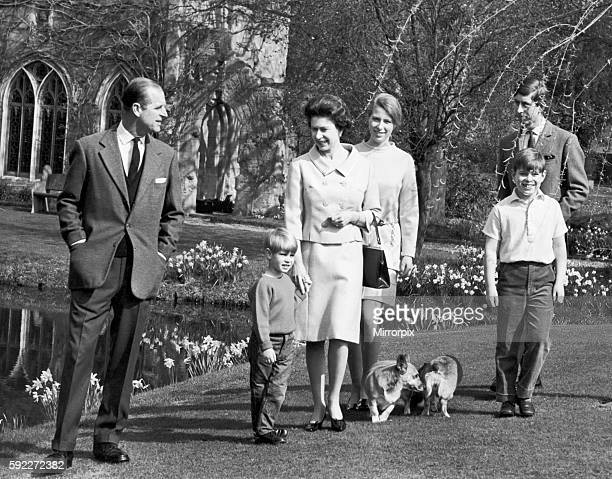 The Queen and The Duke of Edinburgh with Prince Charles Prince Andrew and Princess Anne at Windsor Castle to celebrate her Birthday 16th April 1968