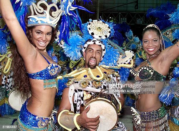 The Queen and the Princess of Music of the samba school Tradicao sing and dance the samba in the parade 06 March 2000 in Rio de Janeiro Brazil La...