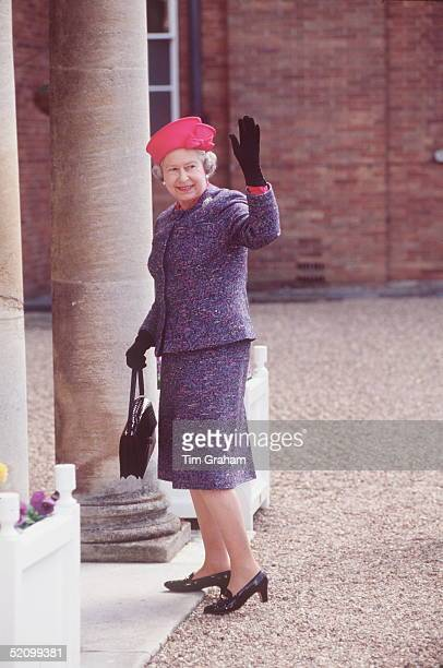 The Queen Arriving At Newmarket She Is Wearing An Outfit By Fashion Designer John Anderson