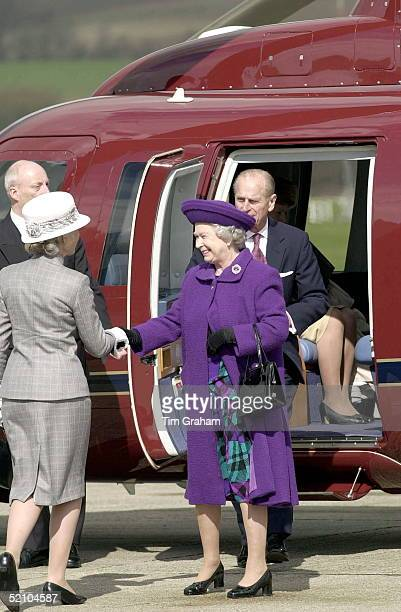 The Queen Arriving By Royal Flight Helicopter At Shoreham In Sussex For A Visit To A Project For The Homeless Run By The St John's Ambulance Charity