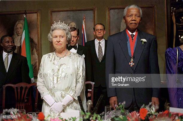 The Queen At A Banquet In Cape Town, South Africa. With Nelson Mandela