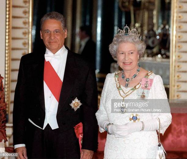 The Queen At A State Banquet At Buckingham Palace, London, With The President Of The Federative Republic Of Brazil Cardoso.