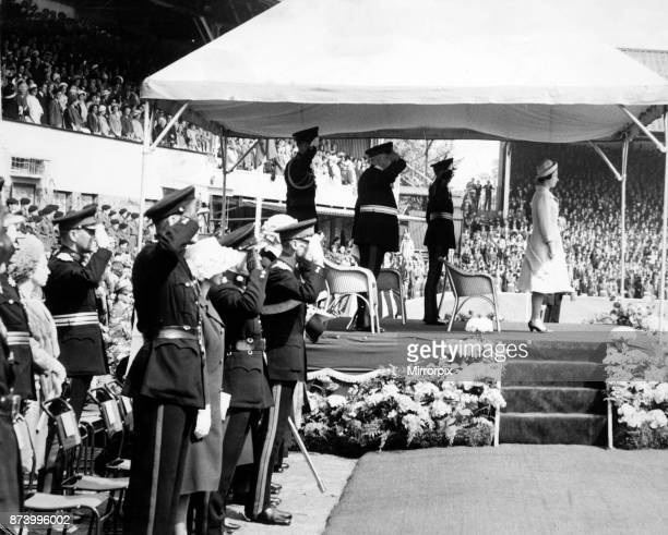 The Queen at Molineux football ground. A crowd of 30,000 saw her take the salute, 24th May 1962.
