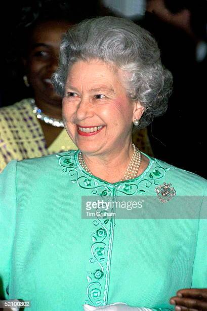 The Queen At The Commonwealth Day Reception At Marlborough House, London. She Is Wearing The Cullinan V Heart Brooch.