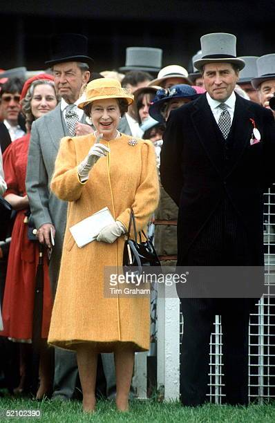 The Queen At The Derby With Her Racing Manager And Friend Lord Porchester