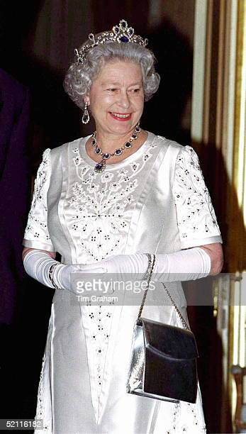 The Queen At The Return Banquet At The French Ambassador's Residence For President Chirac's State Visit To Britain