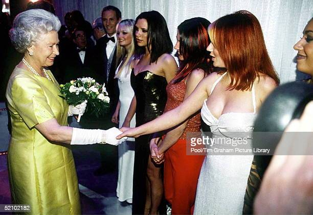 The Queen At The Royal Command Performance At The Victoria Palace Theatre On 1st December 1997 Shaking Hands With Pop Star Geri Halliwell From The...