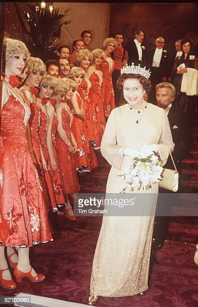 The Queen At The Royal Variety Performance With Moulin Rouge Dancers