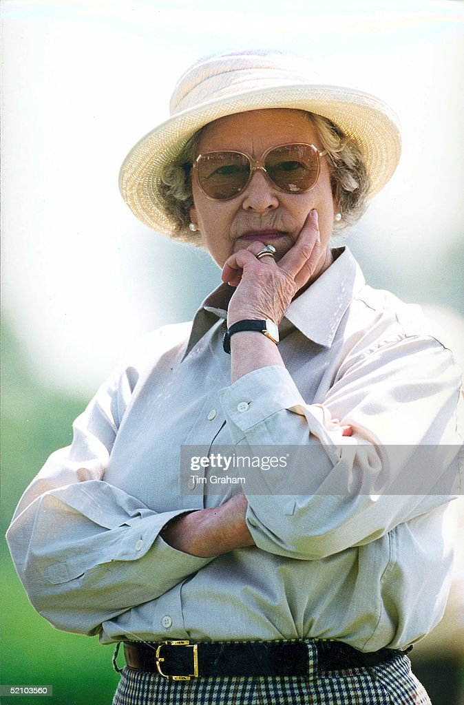 The Queen At The Royal Windsor Horse Show, In The Grounds Of Windsor Castle, Watching Her Husband Compete