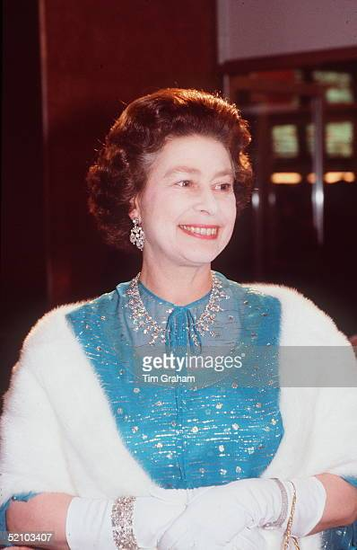 The Queen Attending A Premiere Of The Film Absence Of Malice At The Odeon In Leicester Square The Queen Is Wearing A Diamond Necklace That Was A Gift...