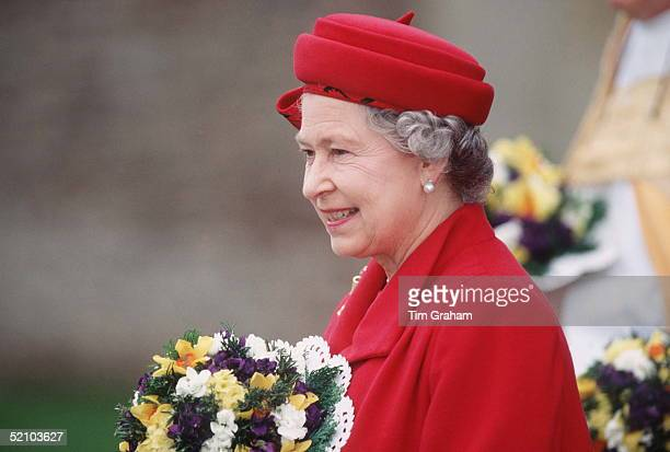 The Queen Attending Maundy Service In Wells Somerset
