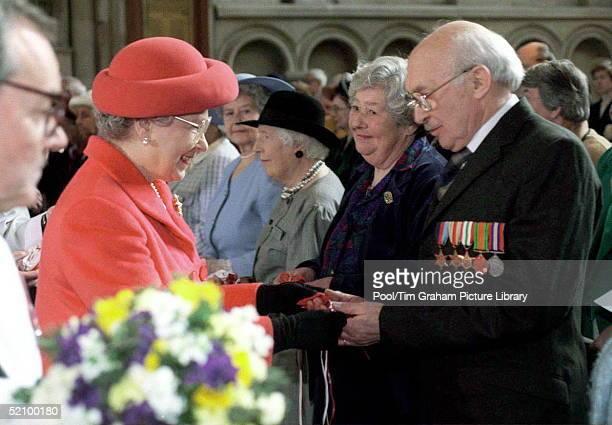 The Queen Attending The Maundy Service At Norwich Cathedral The Queen Giving Royal Maundy To Roy Burton