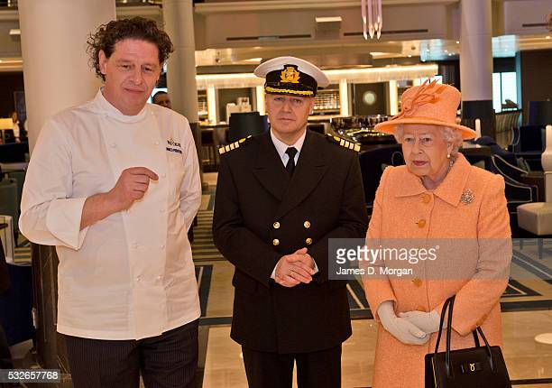 HM the Queen attends the opening of Britannia PO UK's largest ever ship built for the UK market on March 10 2015 in United Kingdom