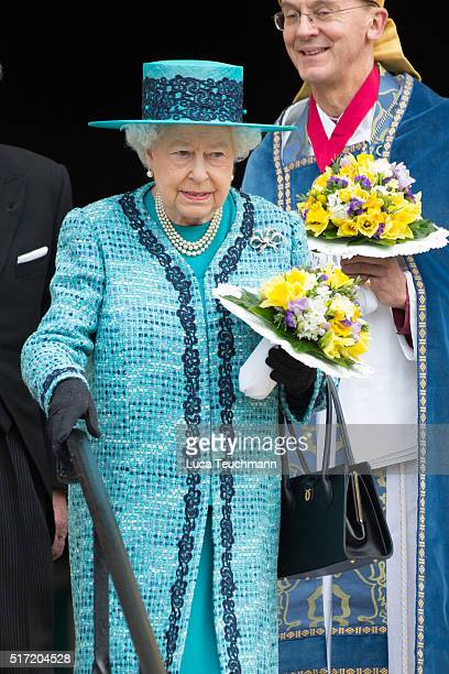 The Queen attends the traditional Royal Maundy Service at Windsor Castle on March 24 2016 in Windsor England
