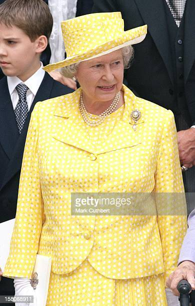 The Queen Attends The Wedding Of Princess Alexia Of Greece And Carlos Morales Quintana At The St. Sophia Cathedral In London. .