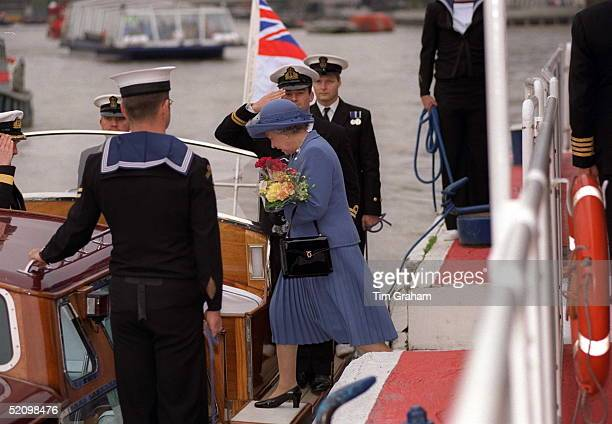 The Queen Boarding The Royal Barge On Her Way To A Lunch On Hmy Britannia In The Pool Of London