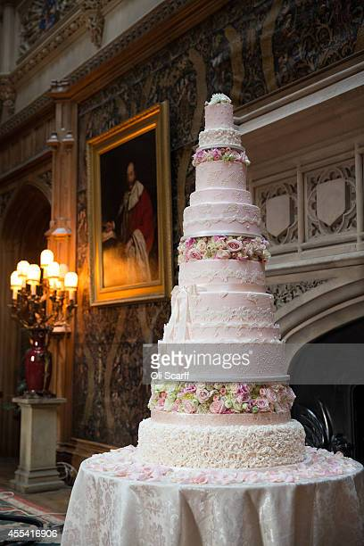 The 'Queen Charlotte Cake' is displayed before the start of the Queen Charlotte's Ball at Highclere Castle on September 13 2014 near Newbury England...