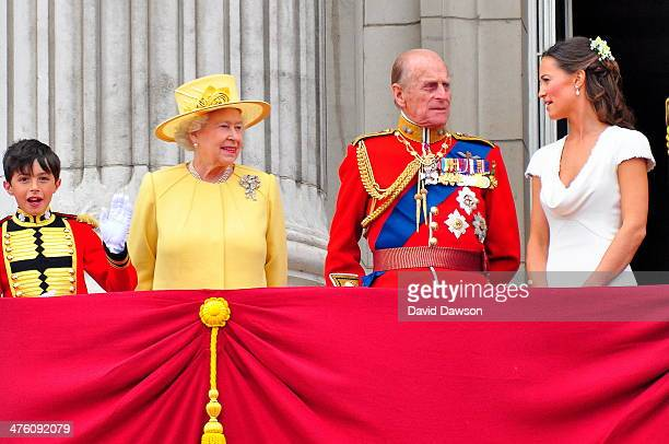 The Queen, Duke of Edinburgh and Philippa Middleton on the balcony of Buckingham Palace after the Royal wedding in London , England at Westminster...