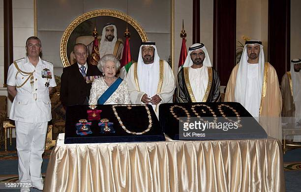 The Queen Duke Of Edinburgh And The Duke Of York At The Al Mushrif Palace Where They Had Lunch With Hh President Sheikh Khalifa Bin Zayed Al Nahyan...