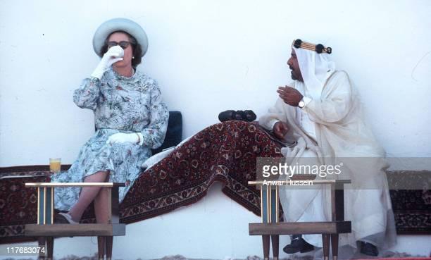HM The Queen Elizabeth II and Emir of Bahrain during HM The Queen Elizabeth II and Emir of Bahrain watching horse racing 1979 in Bahrain Bahrain