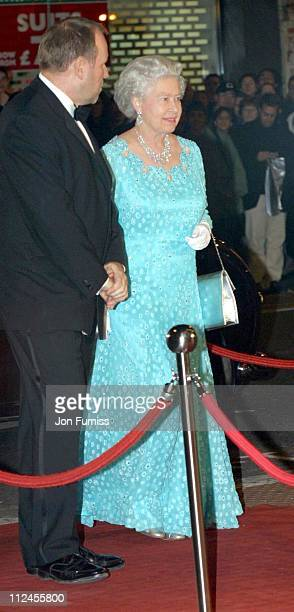 HM The Queen Elizabeth II and guest during The Royal Variety Performance 2001 at Dominion Theatre in London Great Britain