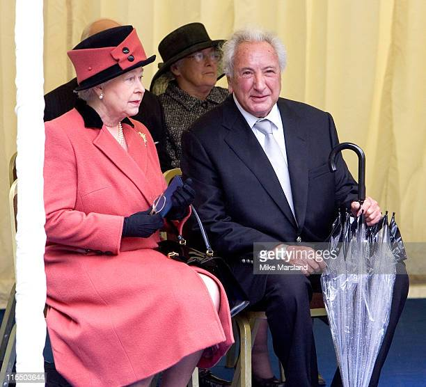 HM The Queen Elizabeth II and Michael Winner attend the unveiling of the national police memorial designed by Sir Norman Foster Building work began...