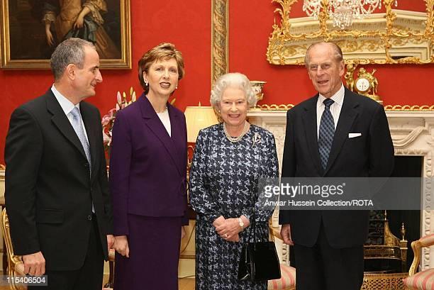 HM The Queen Elizabeth II and Prince Philip Duke of Edinburgh meet Irish President Mary McAleese and her husband Dr Martin McAleese at Hillsborough...