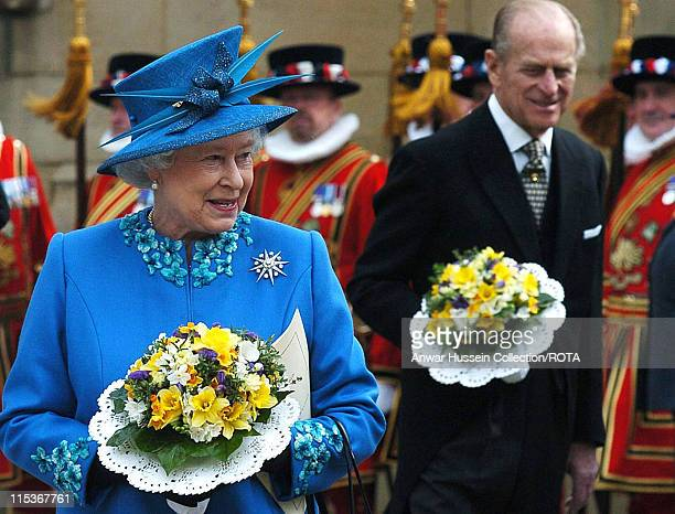 HM The Queen Elizabeth II and the Duke of Edinburgh at Wakefield Cathedral during the Royal Maundy Service Thursday March 24 2005 Britain's Queen...