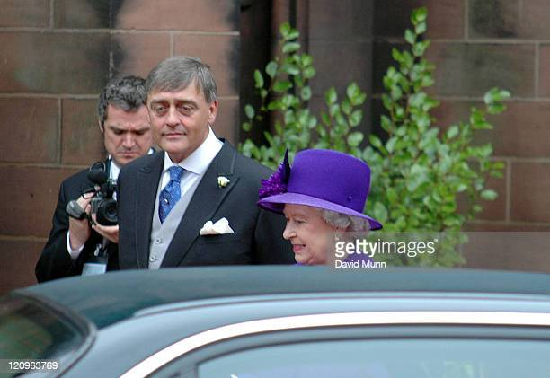HM The Queen Elizabeth II and the Duke of Westminster at the wedding of Lady Tamara Katherine Grosvenor and Edward Bernard Charles van Cutsem at...