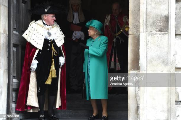 The Queen Elizabeth II and the Lord Mayor Alderman Dr Andrew Parmley attend a service at St Paul's Cathedral to mark the Centenary of the Order of...