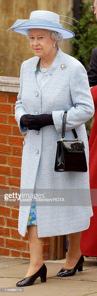 HRH Queen Elizabeth II Attends Easter Sunday Church Service : News Photo