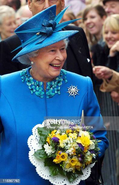 HM The Queen Elizabeth II enjoys a walkabout in Wakefield city centre Thursday March 24 2005 after the Royal Maundy Service held earlier in Wakefield...