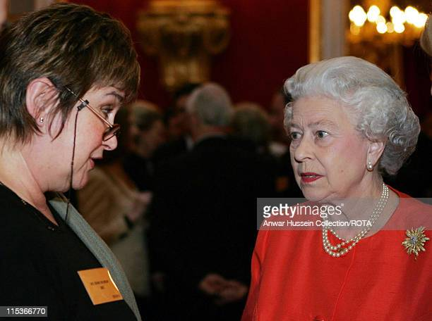HM The Queen Elizabeth II meets radio presenter Jenni Murray at a reception for the Women's Royal Voluntary Service at St James's Palace central...