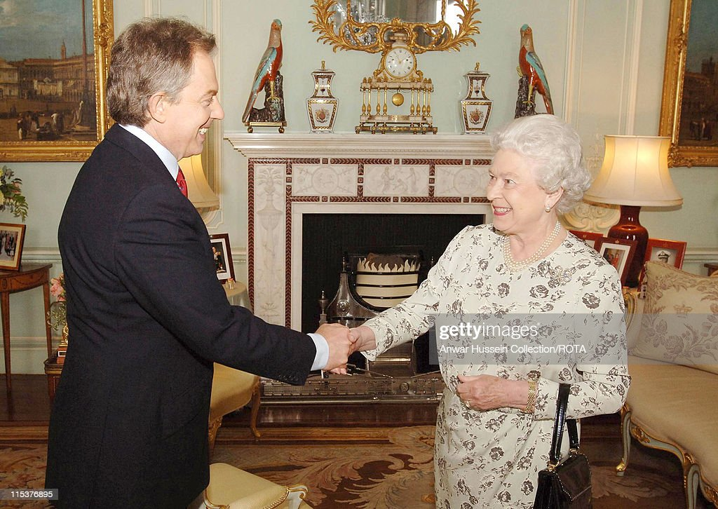 HM The Queen Elizabeth II Congratulates Tony Blair on Winning a Third Term in Government : News Photo