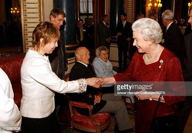 HM The Queen Elizabeth II shakes hands with Jayne Torvill who with partner Christopher Dean won Gold for Ice dancing at the 1984 winter Olympics in...
