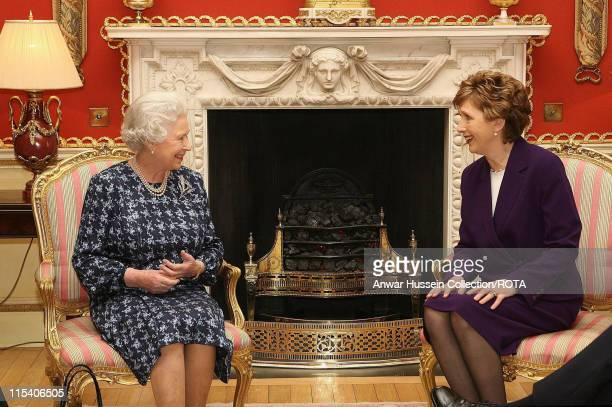 HM The Queen Elizabeth II talks with Irish President Mary McAleese at Hillsborough Castle Belfast Thursday December 8 2005 It is the Queen's first...