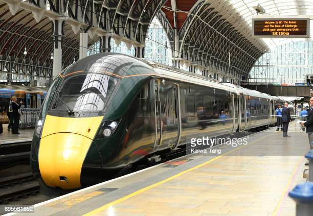 The Queen Elizabeth II train arrives into Paddington Station to mark the 175th anniversary of the first train journey by a British Monarch on June 13...