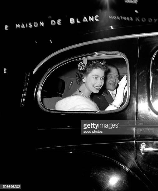 The Queen Elizabeth II with Ren�� Coty during a visit in Paris In 1957