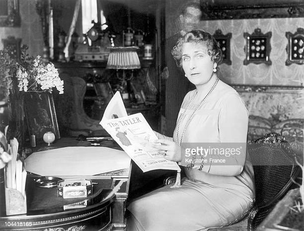 The Queen EUGENIEVICTORIA of Spain reading an English review around 19401950