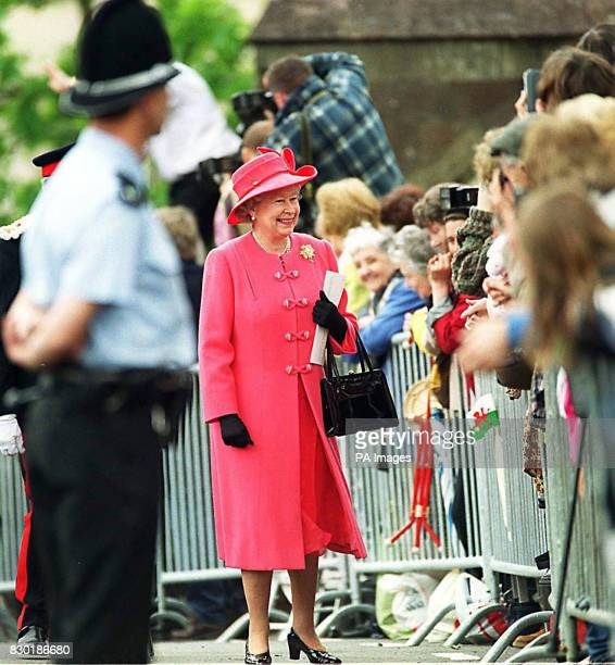 The Queen greets members of the public who have waited patiently to see The Queen in Cardiff, Wales. The Queen is in Cardiff to open the Natioinal...