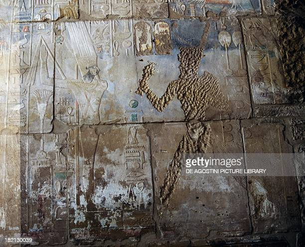 The Queen Hatshepsut before the God Min painted relief hall of the Red Chapel of Hatshepsut Karnak temple complex Egyptian civilisation New Kingdom...