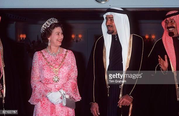 The Queen Hosts A Banquet For King Khaled Of Saudi Arabia On Board Hmy Britanniadharansaudi Arabia