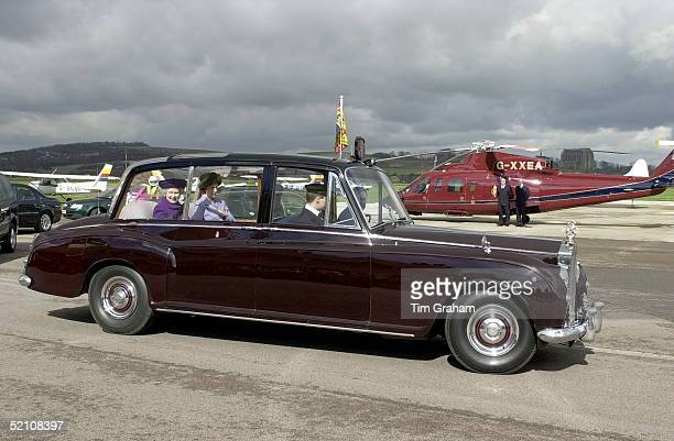 The Queen In Her Official Rolls Royce At Shoreham Airport In Sussex Having Arrived In A Royal Flight Helicopter For Her Visit To The St John...