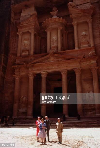 The Queen In Petra, Jordan With Prince Philip And Their Hosts King Hussein Of Jordan And Queen Noor