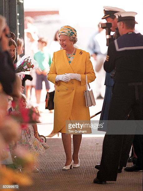 The Queen In Portsmouth To Board The Royal Yacht Britannia For Her Annual Cruise Around The Western Isles Of Scotland Is Photographed By Naval...