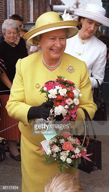 The Queen In Portsmouth To Board The Royal Yacht Britannia For Her Traditional Cruise Around The Western Isles Of Scotland With Her Is Ladyinwaiting...