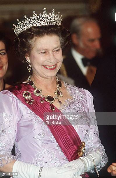 The Queen In Portugal Wearing A Necklace And Brooch Of The Crown Amethysts Suite Of Jewels Which Originally Belonged To Queen Victoria's Mother The...