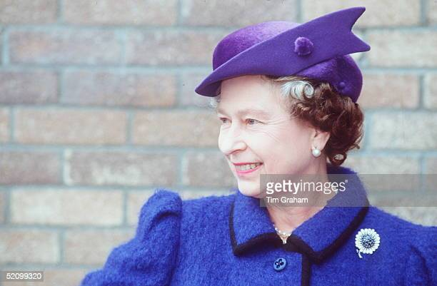 The Queen In Swansea, Wales. She Is Wearing A Hat By Milliner Frederick Fox.
