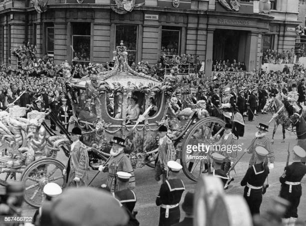 The Queen in the Gold State Coach passing Charring Cross Road, Trafalgar Square on her way to Westminster Abbey for her coronation, 2nd June 1953.