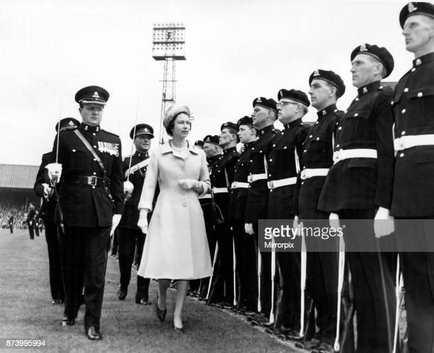 The Queen inspecting the troops of the Staffs regiments at Molineux Stadium 24th May 1962